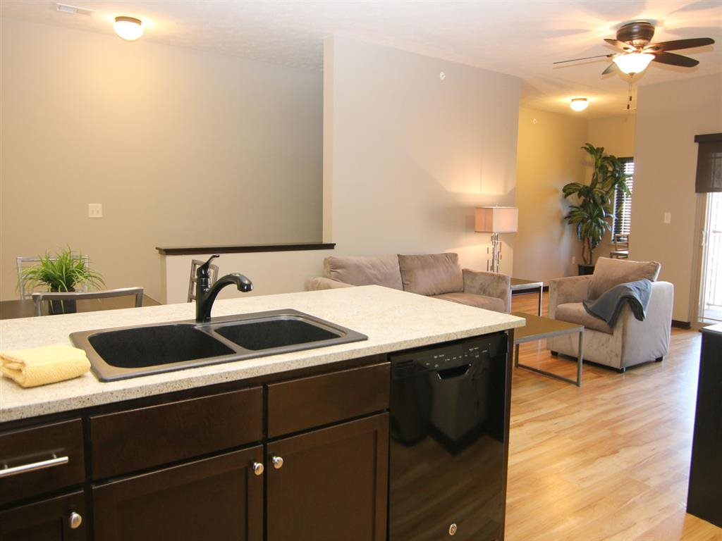 kitchen and living space at Villas at Wilderness Ridge in Lincoln Nebraska