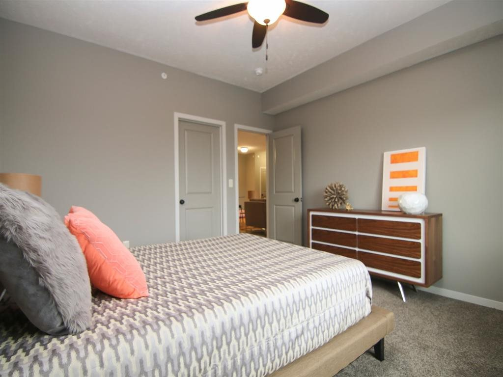 bedroom with ceiling fan at Villas at Wilderness Ridge in Lincoln Nebraska