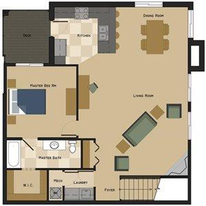 Unit B Floorplan at The Villas at Wilderness Ridge