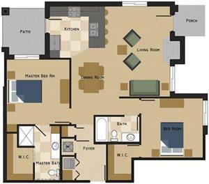 Unit C Floorplan at The Villas at Wilderness Ridge