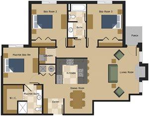 Unit H Floorplan at The Villas at Wilderness Ridge