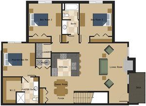 Unit J Floorplan at The Villas at Wilderness Ridge