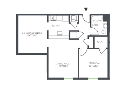 1 Bedroom Plus Den/Home Office Floor Plan