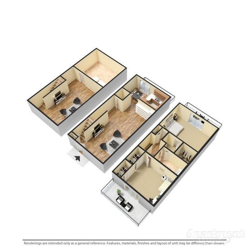 2 Bedroom-B, 1.5 Bathroom Floor Plan 2