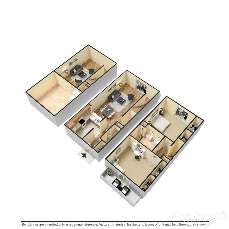 2 bedroom-A, 1.5 bathroom Floor Plan 1
