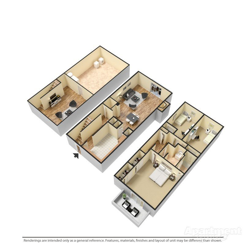 3 Bedroom, 1.5 Bathroom Floor Plan 3