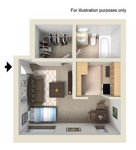 Studio (Haish) Floor Plan 1