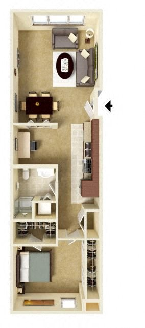One Bedroom with Den Floor Plan 5
