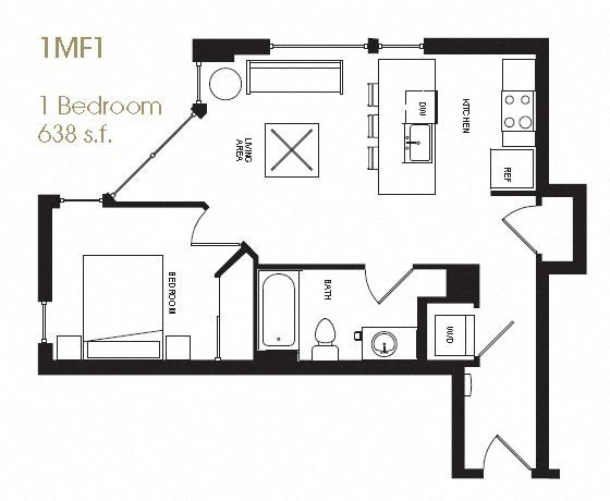 One Bedroom Floor Plan 12