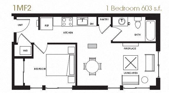 One Bedroom Floor Plan 13