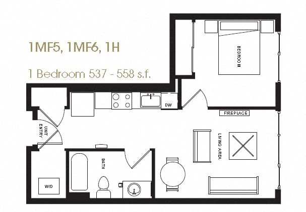 One Bedroom Floor Plan 11
