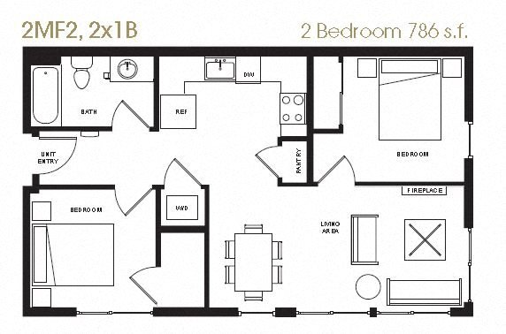 2 Bedroom 1 Bath Floor Plan 15
