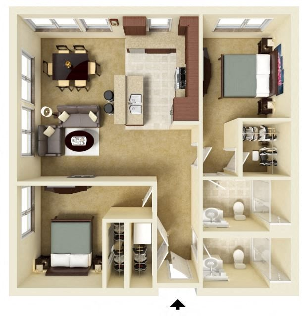 Split 2 Bedroom Floor Plan 7