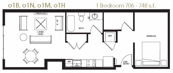 Open One Bedroom Floor Plan 10