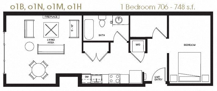 Open One Bedroom Floor Plan 9