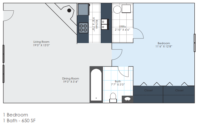 1 Bedroom - Renovated Floor Plan 2