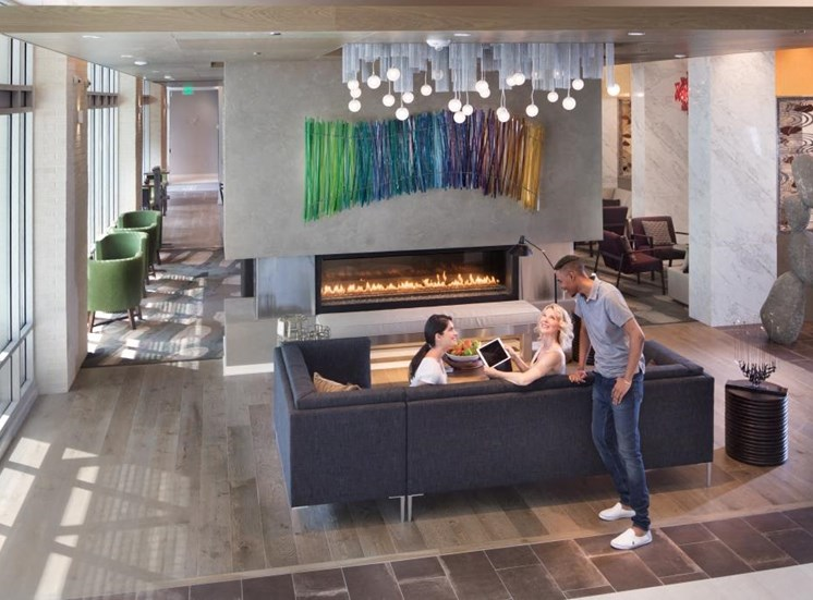 Lobby with Fireplace at The Pearl, Silver Spring,Maryland