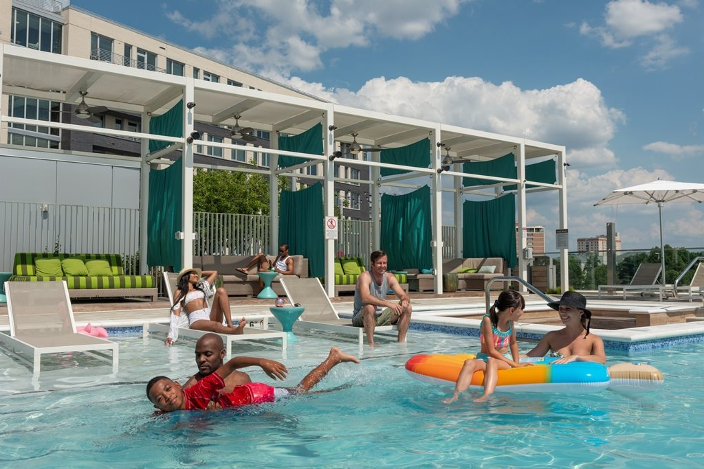 Swimming Pool with Lounge Chairs at The Pearl, Silver Spring