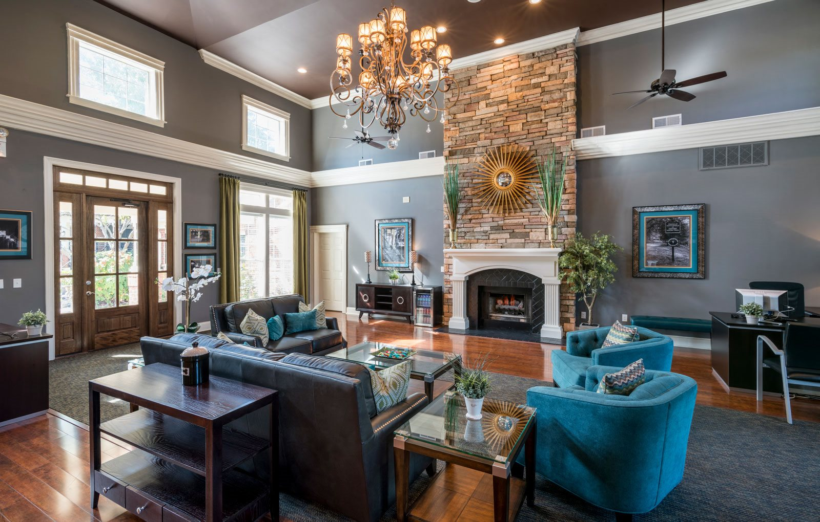 Posh Lounge Area With Fireplace In Clubhouse at Wyndchase at Aspen Grove, Tennessee, 37067