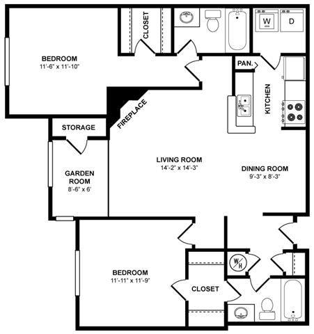 The Inman Floor Plan at The Berkshires at Lenox Park, Atlanta, GA