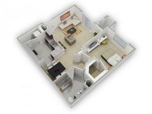 The Cornish Floorplan at Algonquin Square Apartment Homes, Algonquin, IL 60102
