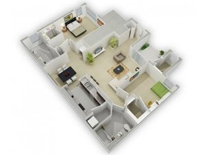 The Henderson Floorplan at Algonquin Square Apartment Homes, Algonquin, IL 60102