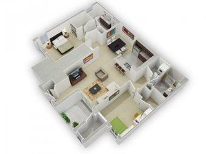 The Jackson Floorplan at Algonquin Square Apartment Homes, Algonquin, IL 60102