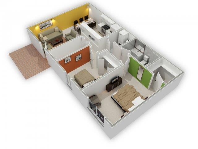 Blossom Floorplan 3D View at HighPoint Community Apartments, Romeoville, IL, 60446