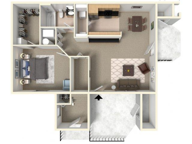 Cascade and Autumn Floorplan A at HighPoint Community Apartments, Romeoville, IL, 60446