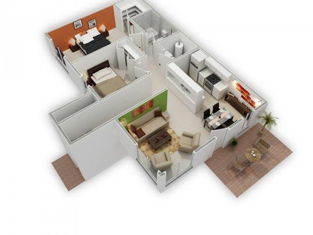 Magnolia 3D Floorplan at HighPoint Community Apartments, Romeoville, IL, 60446