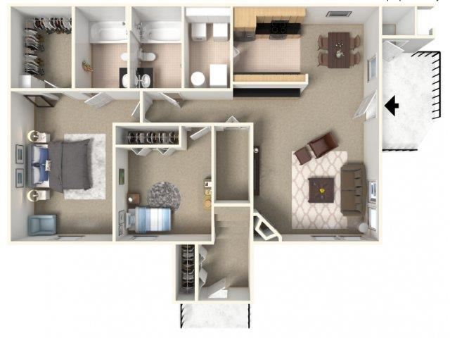 Meadows 1 3D Floorplan A at HighPoint Community Apartments, Romeoville, IL, 60446