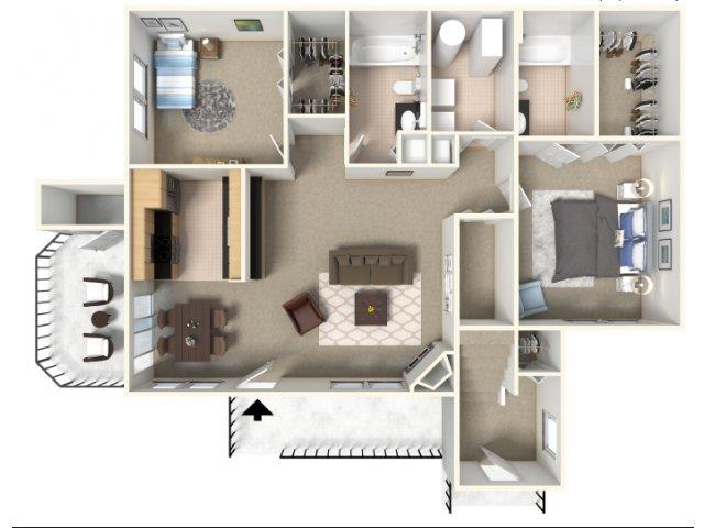 Sunrise 1 3D Floorplan B at HighPoint Community Apartments, Romeoville, IL, 60446