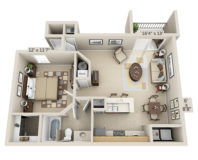 1 Bedroom - Dogwood Floor Plan 1
