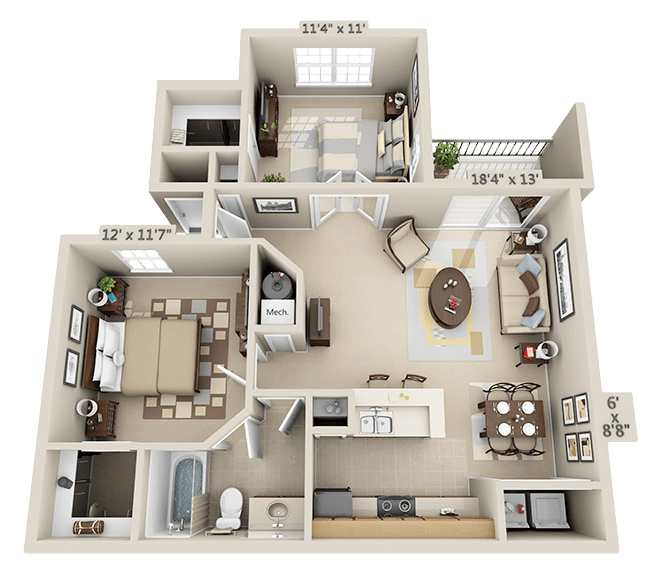 1 Bedroom - Evergreen Floor Plan 2