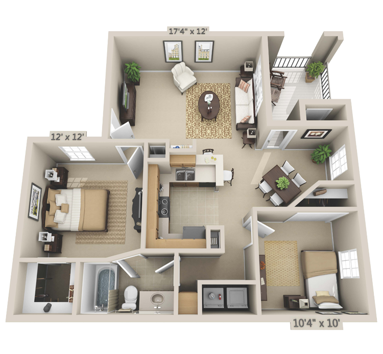 2 Bedroom - Cottonwood Floor Plan 3