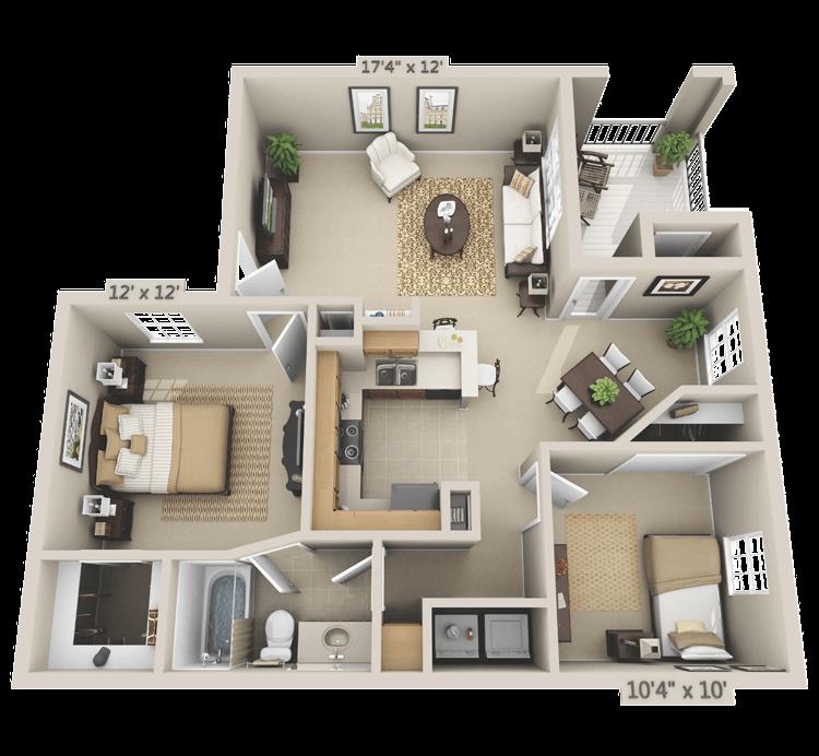 2 Bedroom - Cottonwood Floor Plan 3