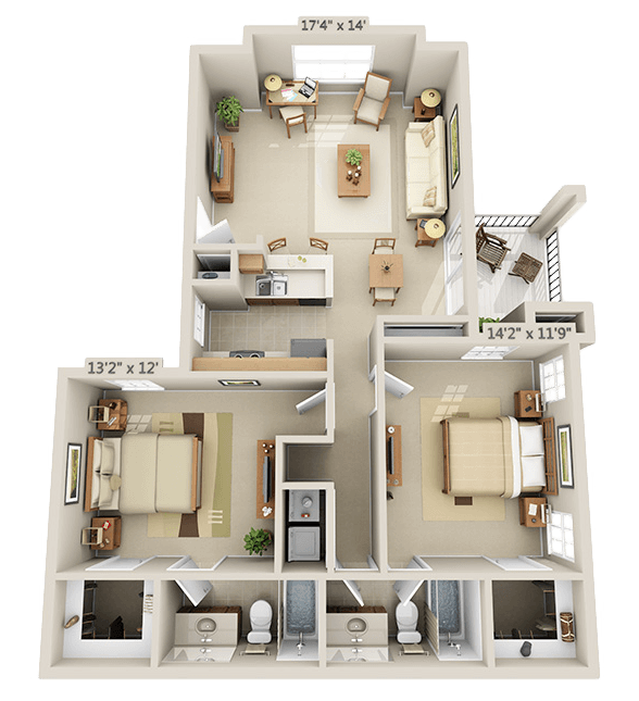 2 Bedroom - Aspen Floor Plan 5