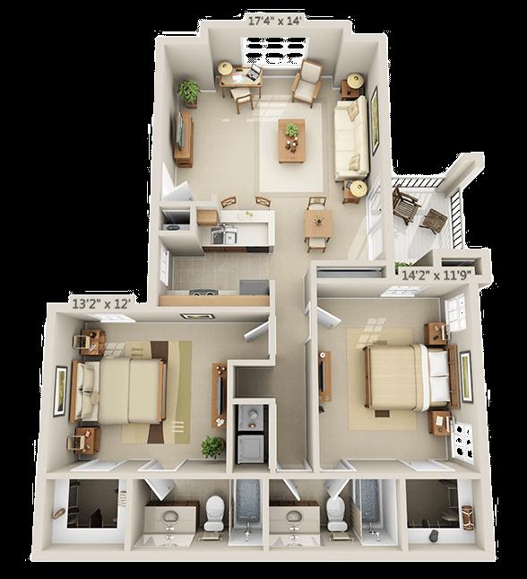 2 Bedroom - Aspen Floor Plan 5