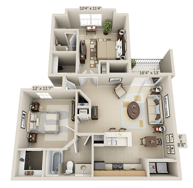 2 Bedroom - Birchwood Floor Plan 4