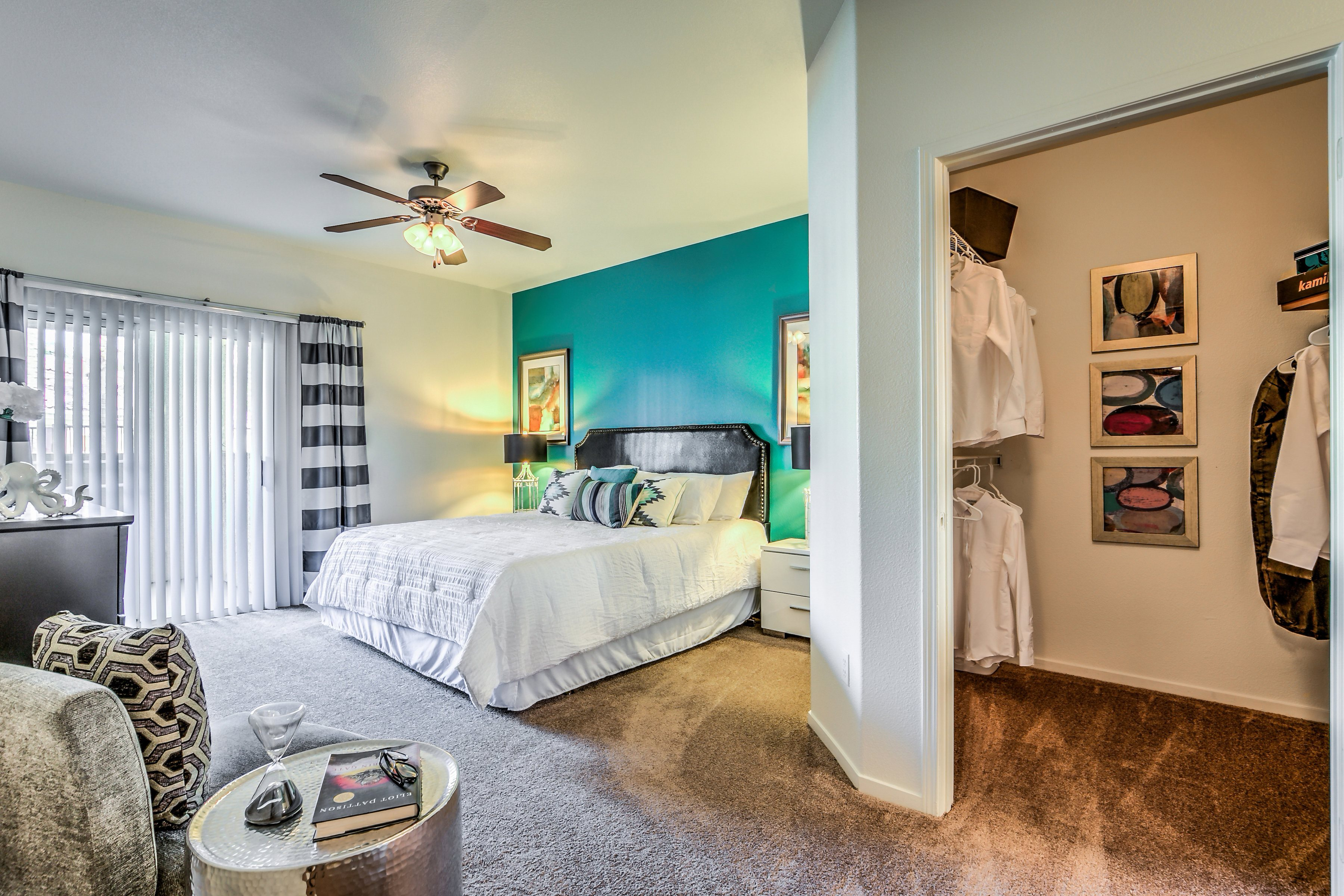 Spacious Carpeted Bedrooms That Accommodate King Size Beds at Calypso Apartments