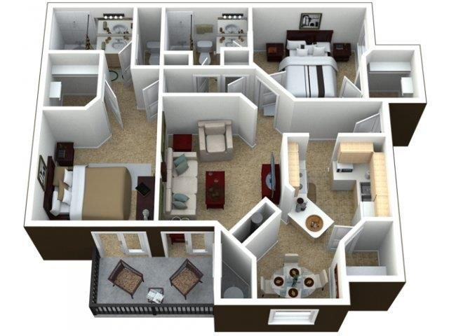 Three Bedroom at Calypso Apartments, Las Vegas, NV