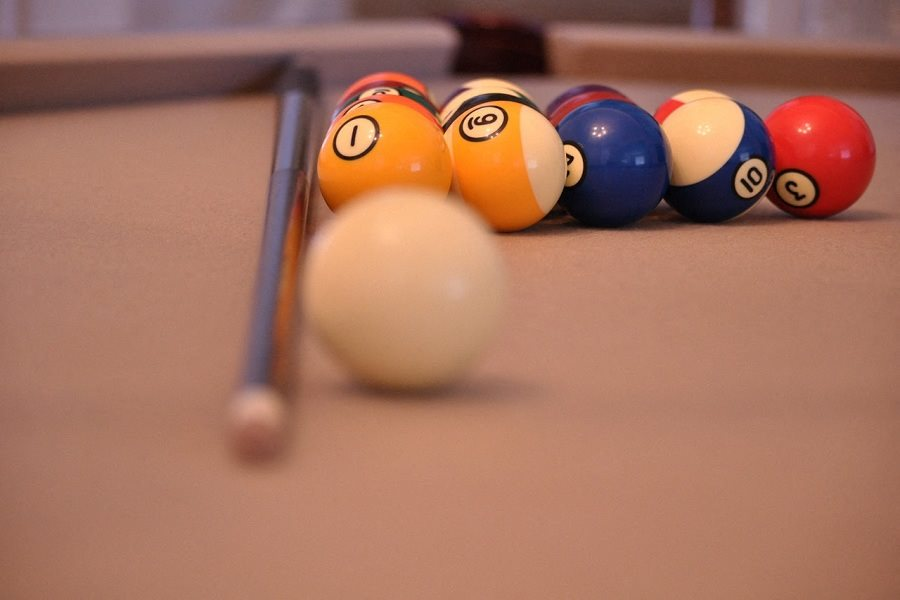 close up pool table and balls