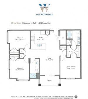 Floor Plan at Watermark Apartments, Norfolk, 23505