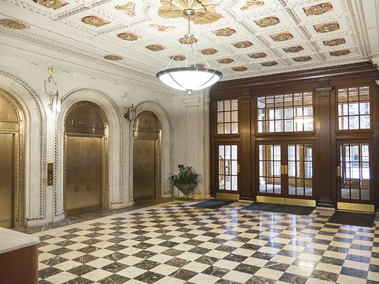 Ornate Marble Lobby with Tiffany Elevators  at Residences at Leader, Cleveland
