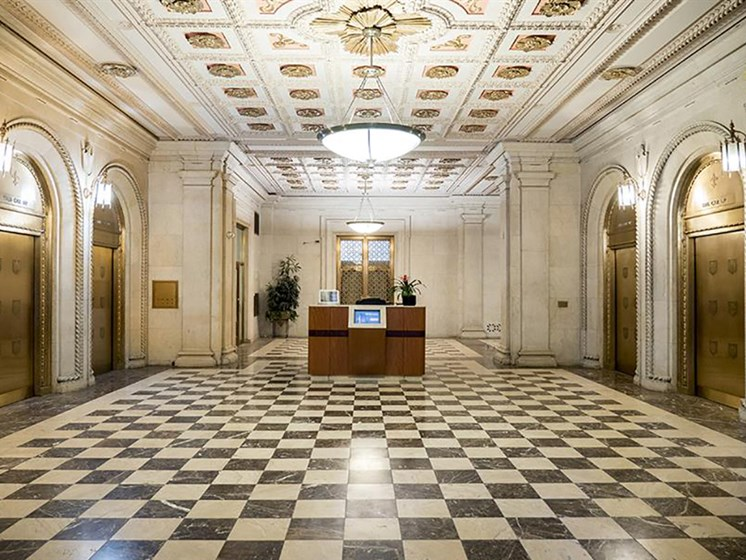 Ornate Marble Lobby with Tiffany Elevators  at Residences at Leader, Cleveland, OH, 44114