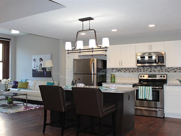 Gourmet Kitchen With Island at Residences at Leader, Cleveland, OH