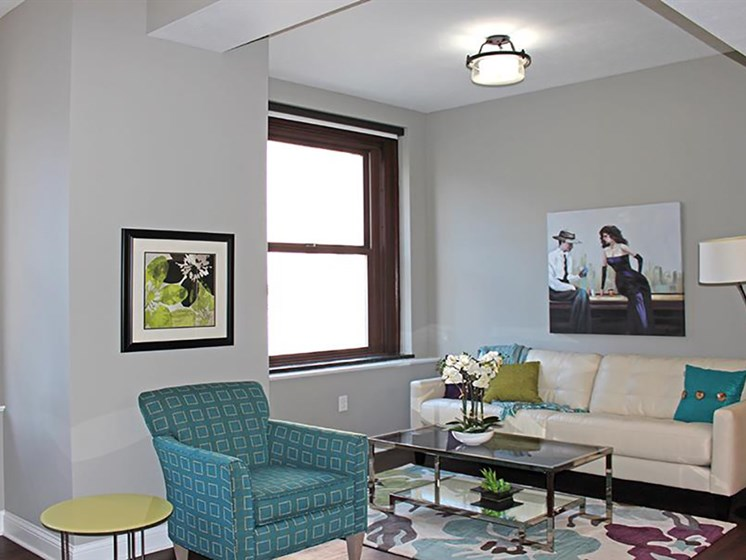 Living Room With Expansive Window at Residences at Leader, Cleveland, 44114