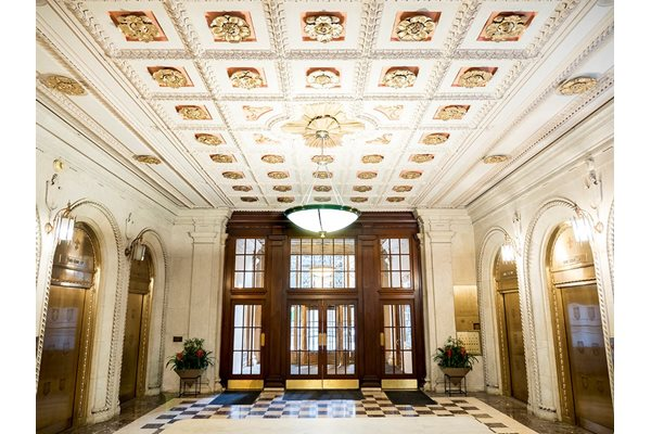 Stunning Lobby with Gold Finishing