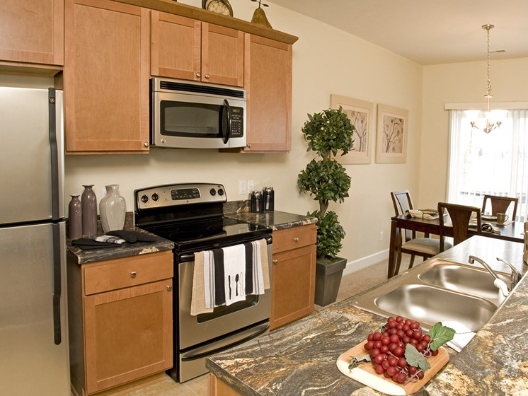 Electric Appliances in Kitchen at Long Pond Shores Waterfront Apartments, Rochester, NY