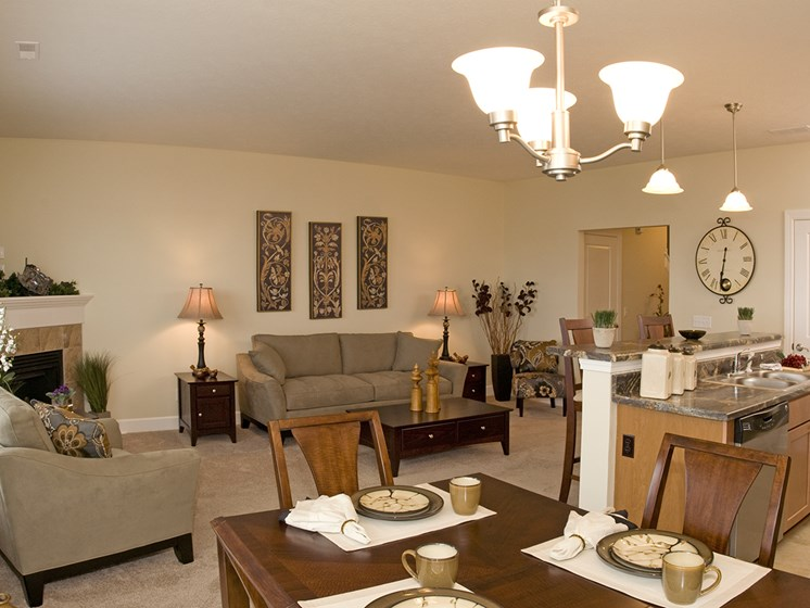 Dining and Living Room at Long Pond Shores Waterfront Apartments, Rochester, NY